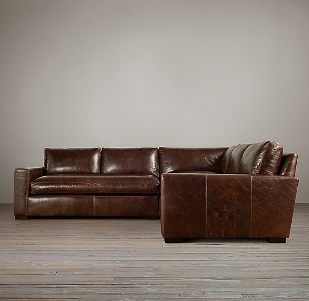 Restoration Hardware Leather : Maxwell leather customizable sectional