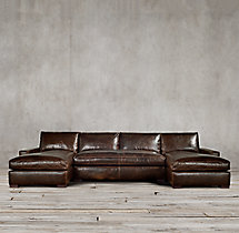 Preconfigured Maxwell Leather U-Chaise Sectional