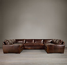 Preconfigured Maxwell Leather U-Sofa Sectional