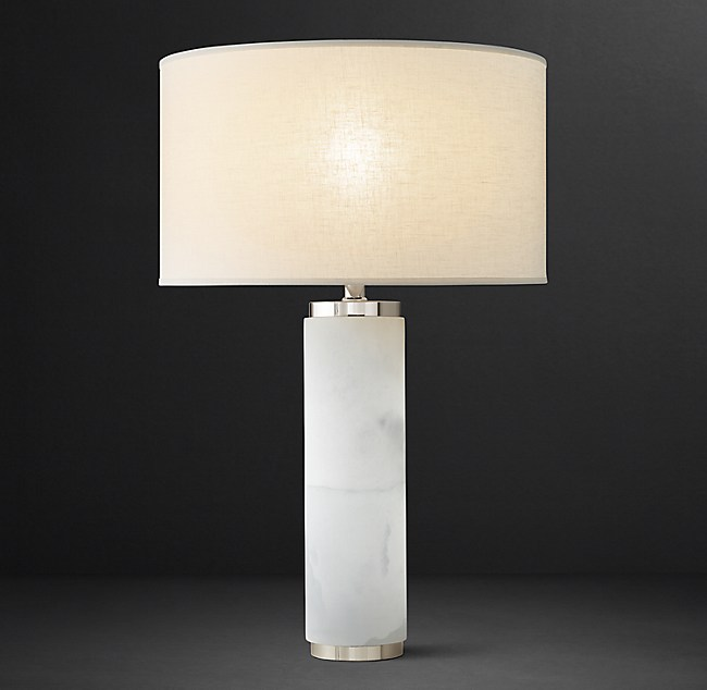 Cylindrical Column Alabaster Table Lamp