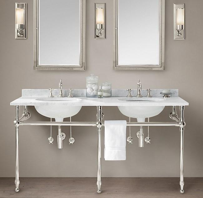 Gramercy Double Metal Washstand With Backsplash