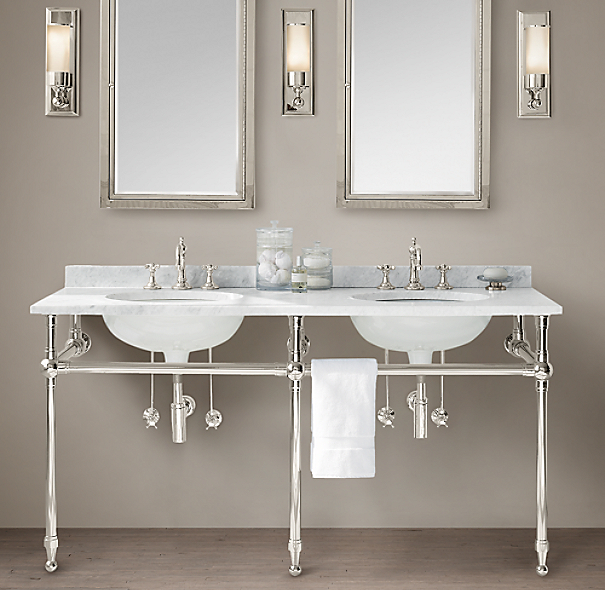 Gramercy double metal washstand with backsplash Double sink washstand
