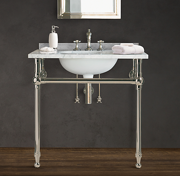 Gramercy Metal Single Washstand With Backsplash