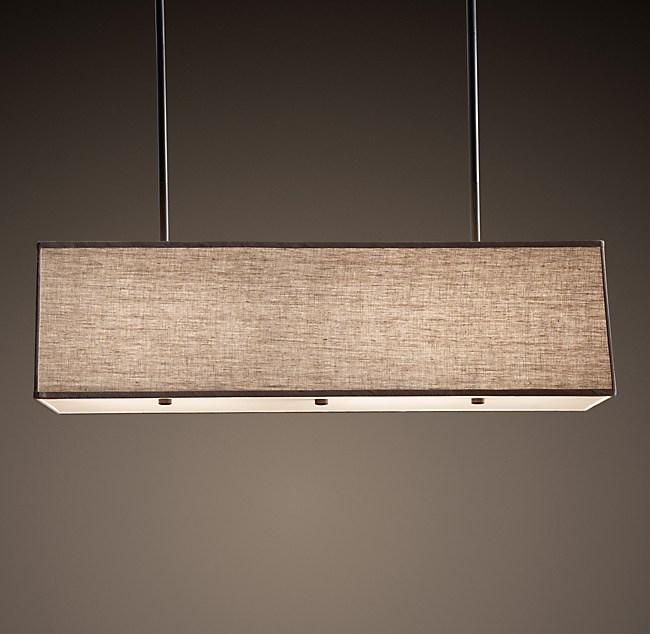rectangular linen shade pendant