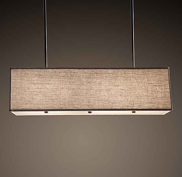 Rectangular Linen Shade Pendant