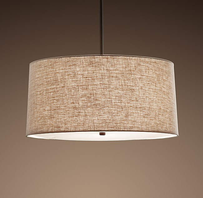 Round linen shade pendant mozeypictures Gallery