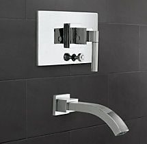 Modern Lever-Handle Balanced Pressure Tub & Shower Valve & Trim Set with Bath Spout