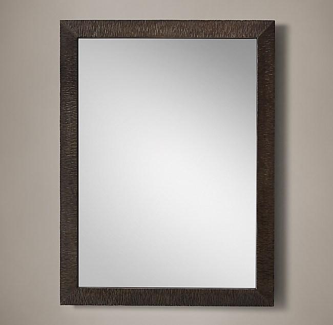 Hand-Textured Wrought Iron Mirror - Wide Frame