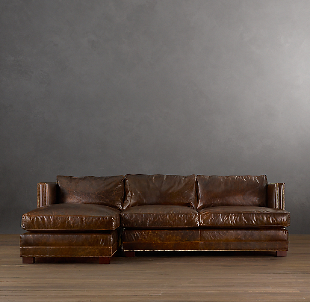 Easton Leather Left Arm Sofa Chaise Sectional