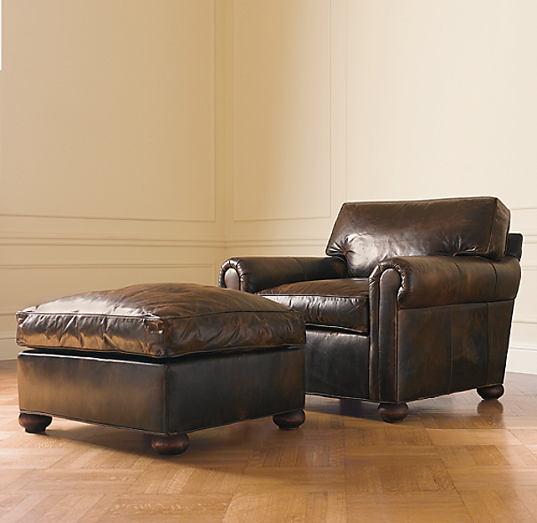 Restoration Hardware Leather Chair: Original Lancaster Leather Ottoman