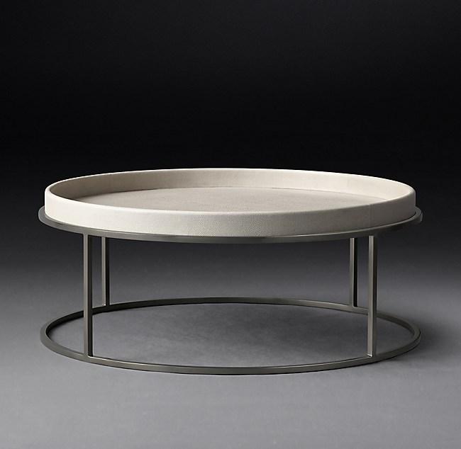 Shagreen Coffee Table Tray: Hudson Shagreen Tray Round Coffee Table