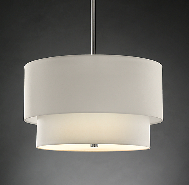 Two tier round shade pendant large for Restoration hardware window shades