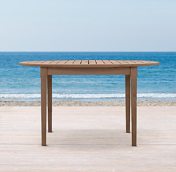 Santa monica round dining table for Restoration hardware outdoor umbrellas