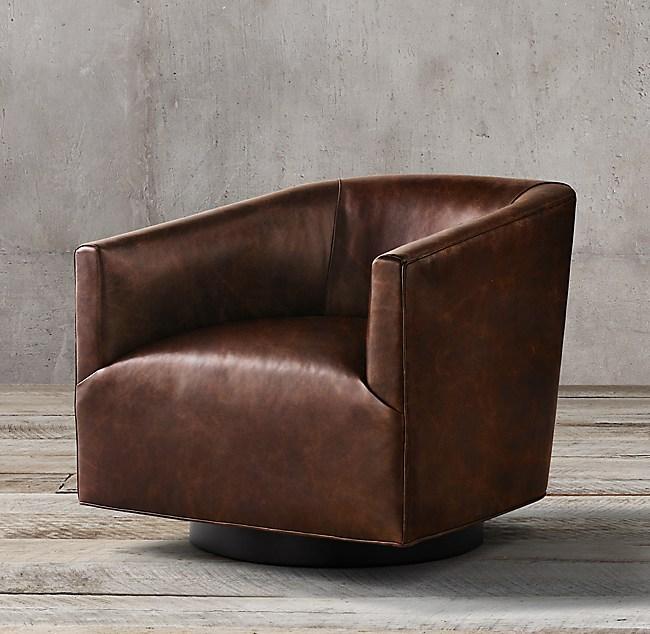 1950s Italian Shelter Arm Leather Swivel Chair - Oak Base