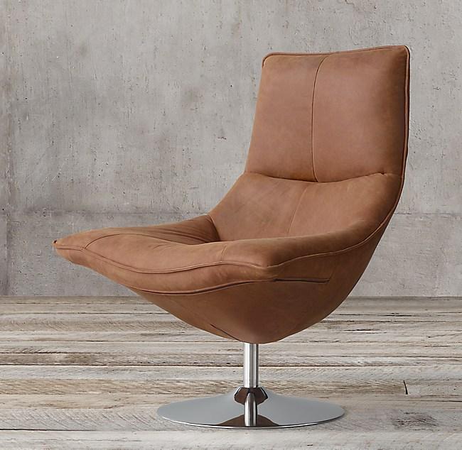 Hopper Leather Swivel Bucket Chair, Modern Swivel Bucket Chairs