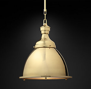 20th C English Cloche Pendant Collection Polished Br
