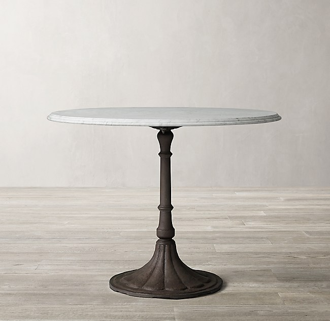 20th C Chrysanthemum Brasserie Table With Marble Top