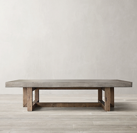Heston Rectangular Occasional Collection Pine And Concrete RH - Rh concrete table