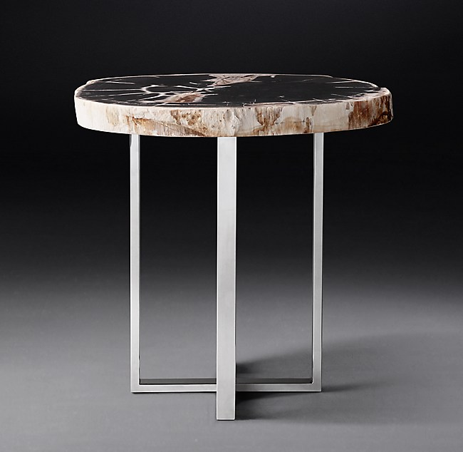 1970s Petrified Wood Slab Round Side Table