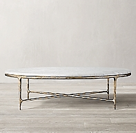 Thaddeus Forged Brass Amp Marble Round Coffee Table
