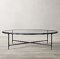 Thaddeus Forged Iron Amp Glass Round Coffee Table