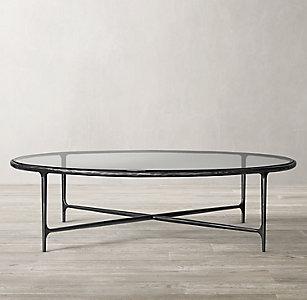 New Thaddeus Forged Iron Gl Round Coffee Table