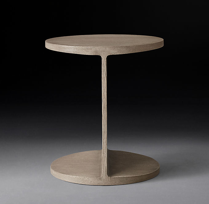 I Beam Wood Round Side Table
