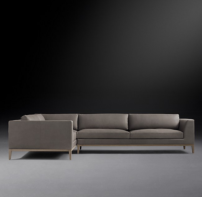Sensational Italia Taper Arm Leather L Sectional Oak Base Interior Design Ideas Ghosoteloinfo