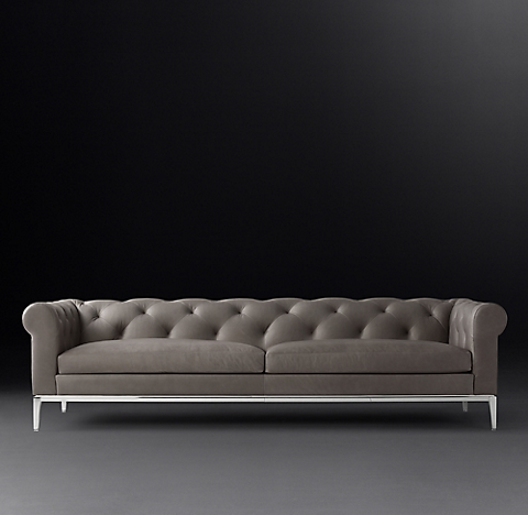 3 Finishes Italia Chesterfield Leather Sofa Metal Base