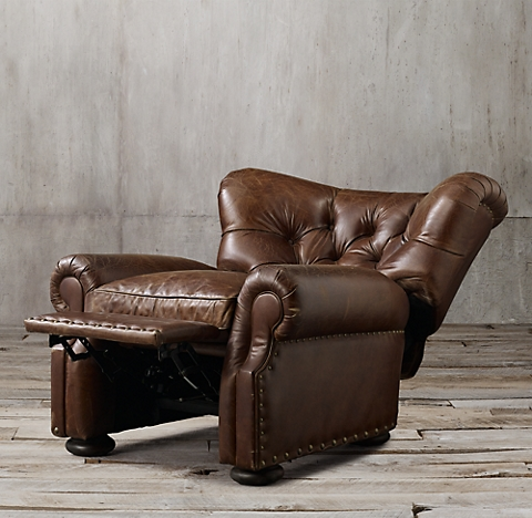 Churchill Leather Recliner with NailheadsRecliners   Swivels   RH. Reclining Chair And A Half Leather. Home Design Ideas