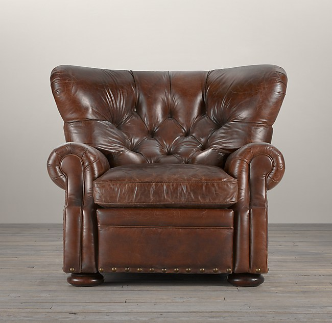 Fine Churchill Leather Recliner With Nailheads Download Free Architecture Designs Estepponolmadebymaigaardcom