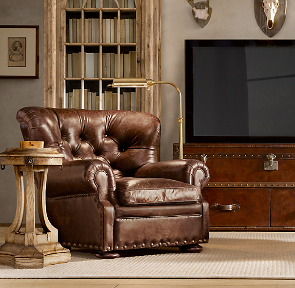 living room sofa furniture churchill leather recliner with nailheads 17865