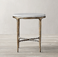 Thaddeus Forged Brass Amp Marble Round Bedside Table