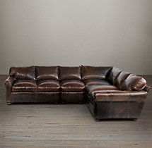 Preconfigured Classic Lancaster Leather L-Sectional
