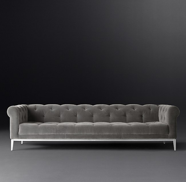 Italia Chesterfield Sofa with Tufted Seat - Metal Base