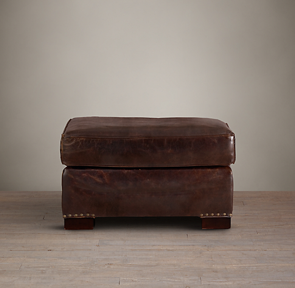 Library Leather Ottoman