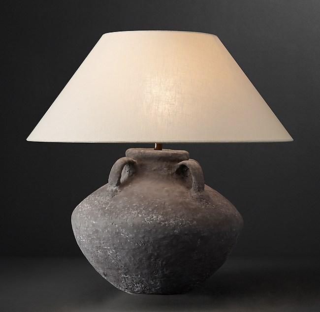 Dutch Ceramic Vessel Table Lamp Handle Urn