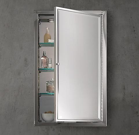 Framed Lit Left Opening Inset Medicine Cabinet