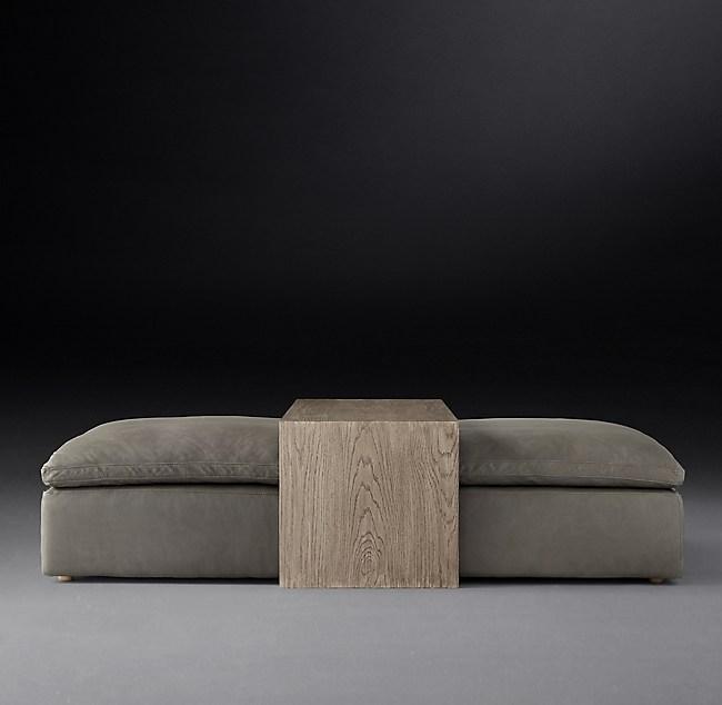 Cloud Modular Leather Waterfall Coffee Table Ottoman