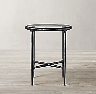 Thaddeus Forged Iron Amp Glass Round Side Table