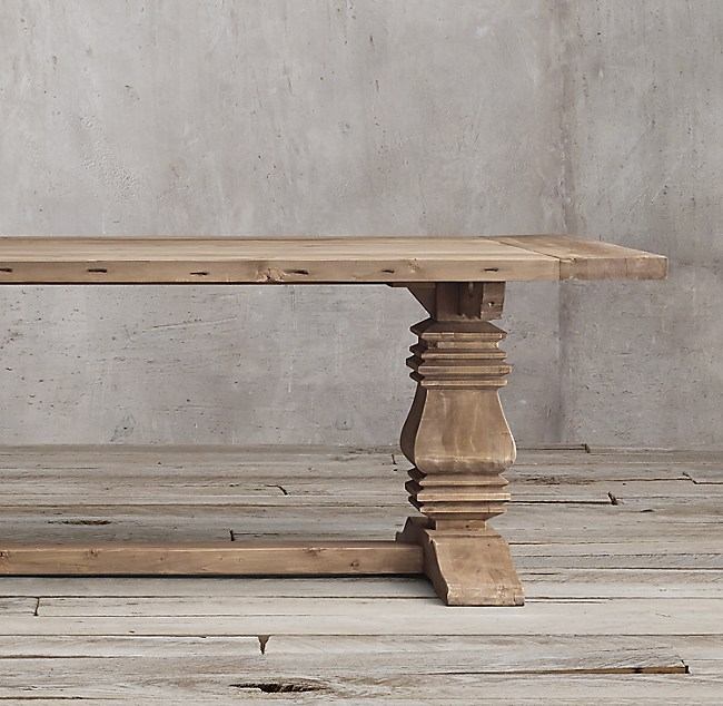 Salvaged Wood Trestle Rectangular Extension Dining Table. Wood Trestle Rectangular Extension Dining Table