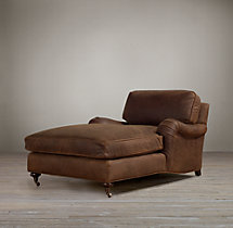 English Roll Arm Leather Chaise