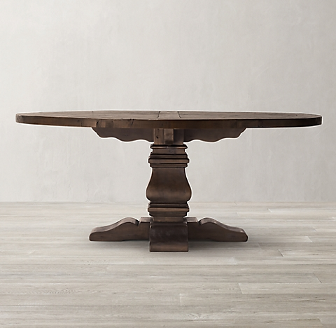 Salvaged Wood Trestle Round Dining Table Salvaged Coffee RH - Salvaged wood trestle round dining table
