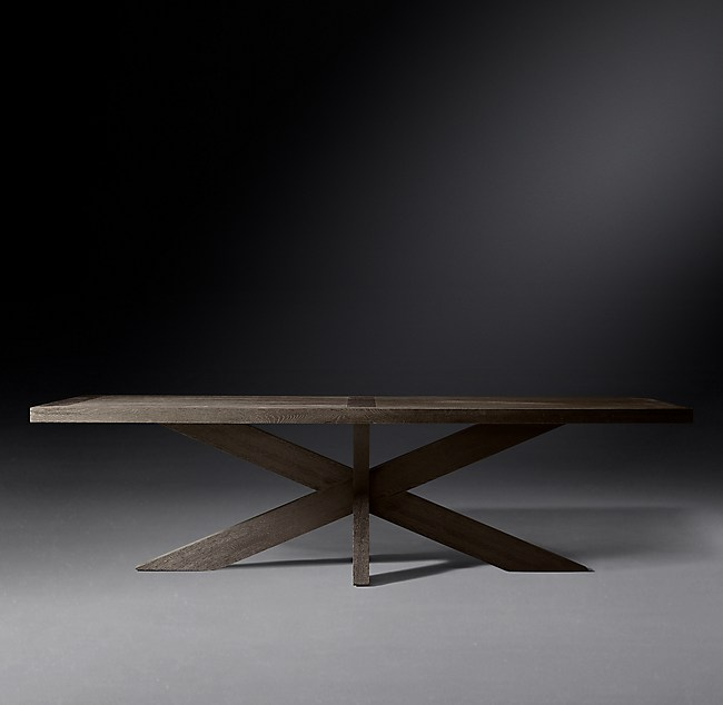 1960s French X Base Rectangular Dining Table