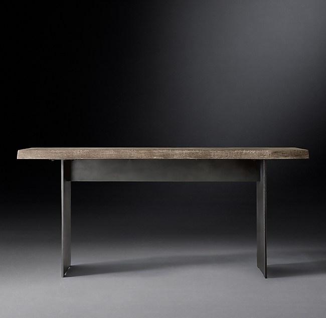 Russian Oak Live Edge Console Table - Live Edge Sofa Table