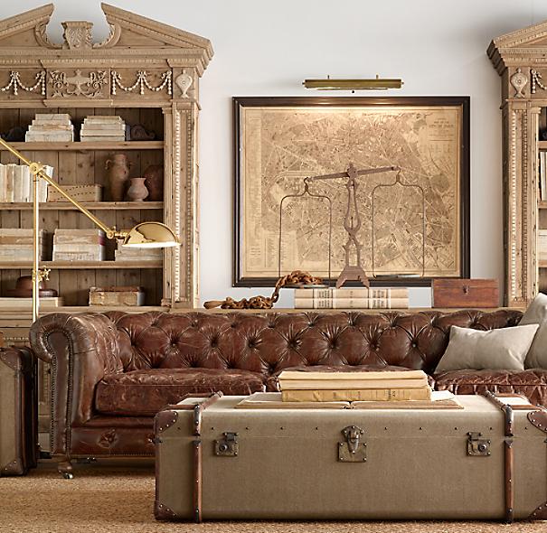 "Leather Sectional Sofa Restoration Hardware: 118"" Kensington Leather Sofa"