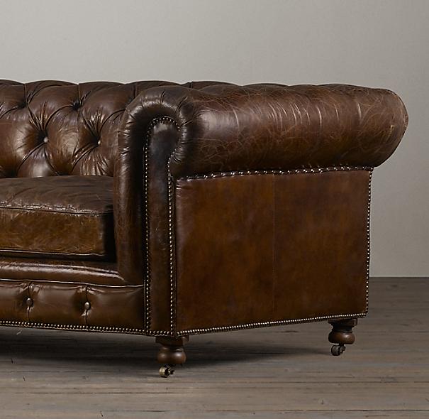 "Restoration Hardware Usa: 118"" Kensington Leather Sofa"