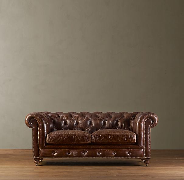 "Leather Sectional Sofa Restoration Hardware: 76"" Kensington Leather Sofa"