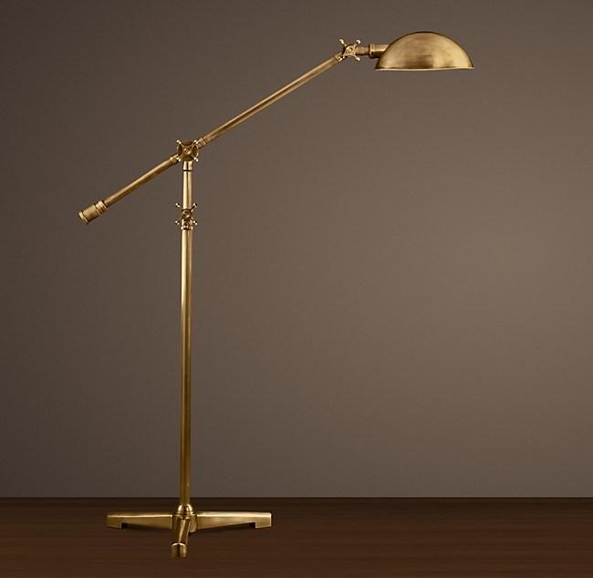 Rowan Pharmacy Task Floor Lamp, Vintage Brass Pharmacy Lamp
