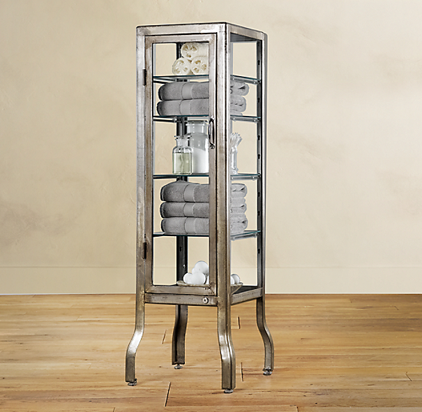 Pharmacy small bath cabinet burnished steel - Restoration hardware cabinets ...